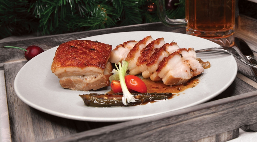 Crispy Pork Belly with Chili Pepper Gastrique