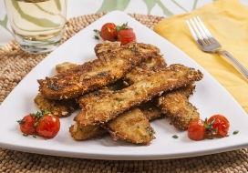 Krispy Zucchini Fritte with Roasted Tomatoes