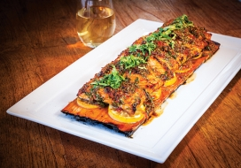 Cedar Plank Grilled Sweet Chili Salmon