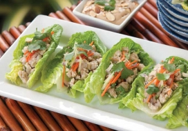 Chicken Lettuce Cups with Peanut Coconut Sauce