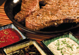 Garlic Steak with a Trio of Dipping Sauces