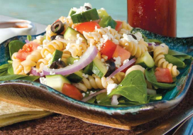 Image of Greek-Style Pasta Salad with Spinach