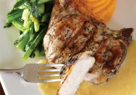 Grilled Pork Chops with Apple Miso Sauce