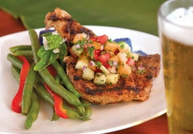 Grilled Pork Chops with Three Melon Salsa
