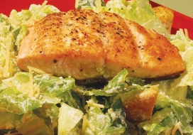 Healthy Caesar Salad with Seared Salmon