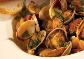 Manila Clams with Beans & Sausage