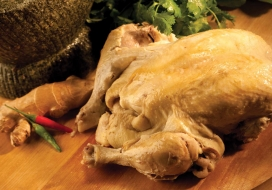 Poached Whole Chicken with Shoyu-Ginger Dipping Sauce