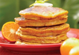 Pumpkin Pancakes with Orange Maple Syrup