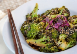 Roasted Broccoli with Miso Sesame Sauce