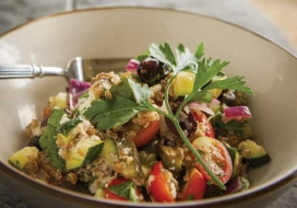 Image of Roasted Vegetables with Tabbouleh and Feta Cheese