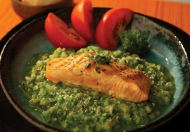 Seared Salmon with Pea & Spinach Risotto