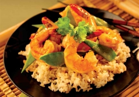 Shrimp with Ginger Snow Peas