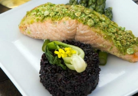 Wasabi Pea Crusted Salmon