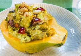 Image of Chicken Curry Salad Stuffed Papaya