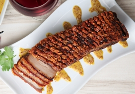 Crispy Pork Belly with Lilikoi Mustard