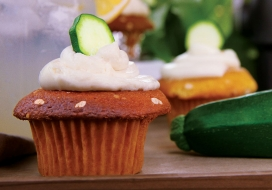 Lemon Zucchini Cupcakes with Goat Cheese Frosting
