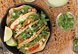 Image of Grilled Vegetable Tacos with Poblano Cream Sauce