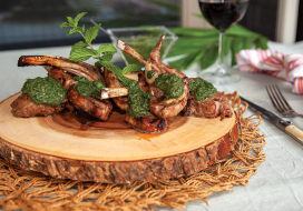 Image of Grilled Rack of Lamb Chops with Mint Chimichurri