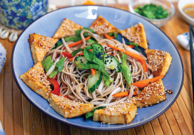Image of Soba Noodle Salad with Sesame Glazed Tofu & Orange Sauce